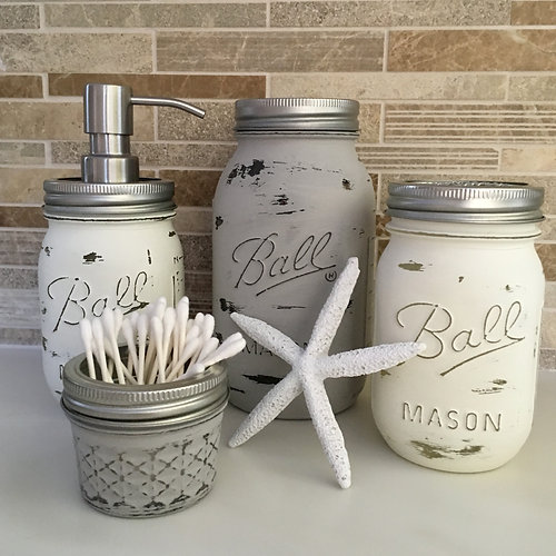 coastal essentials - home   4 piece distressed mason jar bathroom set