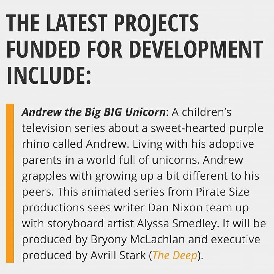 Andrew the big BIG unicorn gets Screen Aus funding