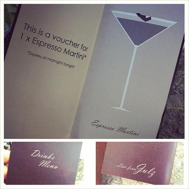 DIY gift voucher for 1 x Espresso Martini