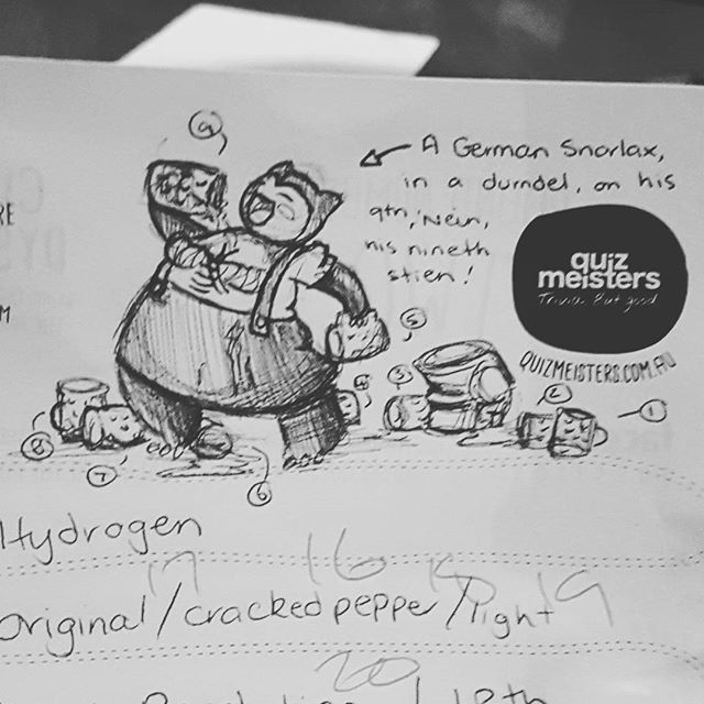 Quiz doodle of the day _Snorlax with a drinking problem_._Current pub theme - Octoberfest