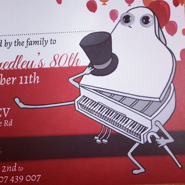 Birthday invites for grandma - specially requested design, including the googly eyes _3