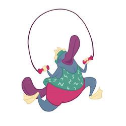 Its aerobics time with Pancake! #characterdesign