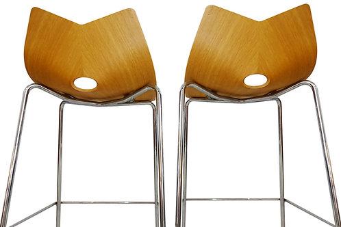 Contemporary oak and chrome bar stools