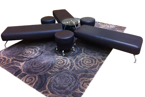 Leather bench sofa seating system, 3 stools and rug