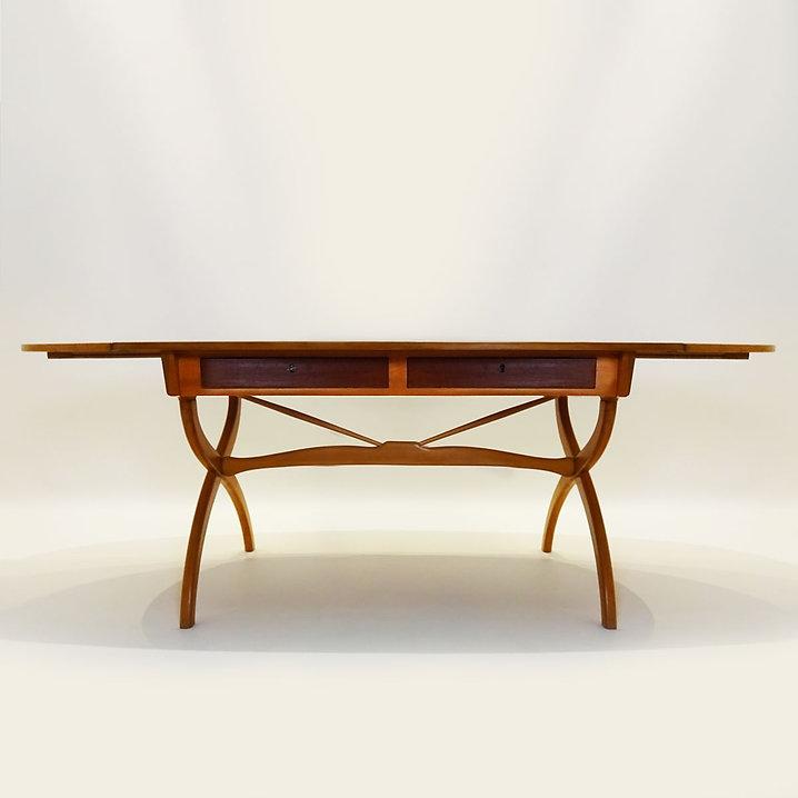 Danish Mid Century Modern Børge Mogensen 1957 Beech and Teak drop leaf desk