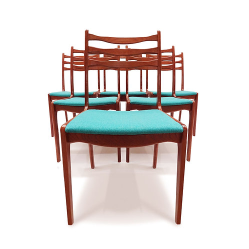 A set of 6 Vintage Danish teak ladder back chairs by SOS stolefabrik