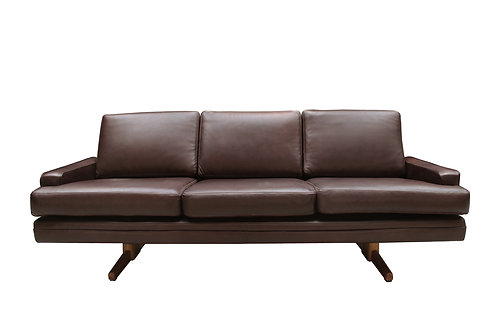 Mid century Danish brown leather sofa