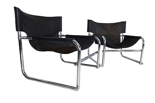 Pair of Rodney Kinsman OMK T1 leather sling chairs