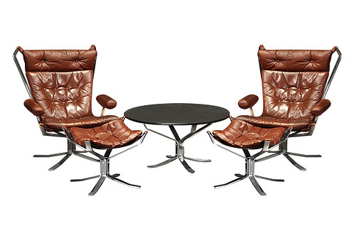 Chrome Falcon chairs and Ottomans