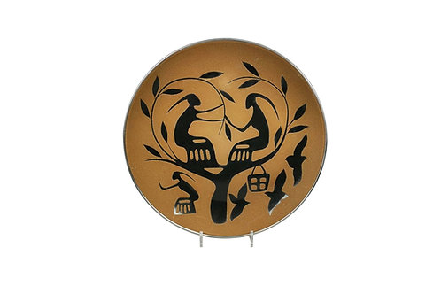Artistic Mid-century enamelled wall plate