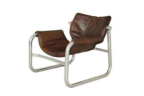 1960's Maurice Burke 'Alpha' leather sling chair for Pozza, Brazil