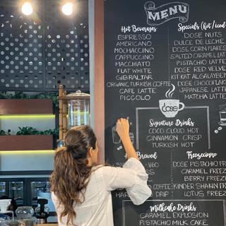 Chalkboard lettering for a Cafe