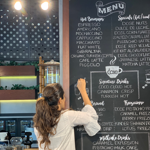 Chalkboard lettering for a Cafe