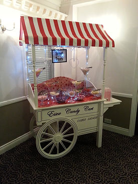 Sweet cart decorated in red design