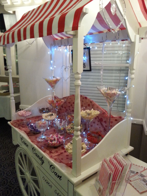 Red themed sweet cart