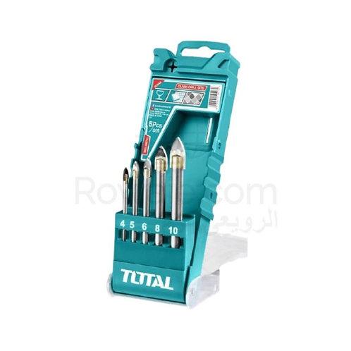 TOTAL TACSD7256 SET 5 PCS GLASS DRILL BITS | طقم بنط تخريم زجاج  توتال 5 قطع