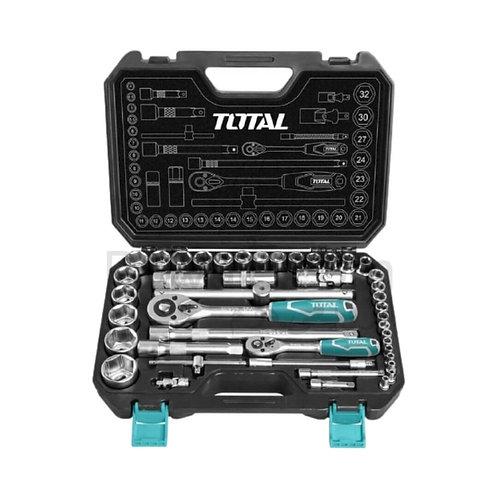 TOTAL THT421441 44 pcs 1/4″ + 1/2″ Socket Set | شنطة متكاملة 44 قطعة