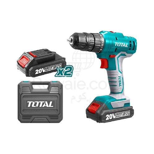 TOTAL TDLI20012 CORDLESS DRILL Li - ion 20V /1.5A | شنيور شحن 20 فولت 2 بطارية
