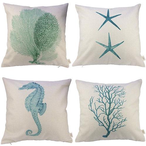 Cotton and Linen Ocean Park Theme Decorative Pillow Cover Case