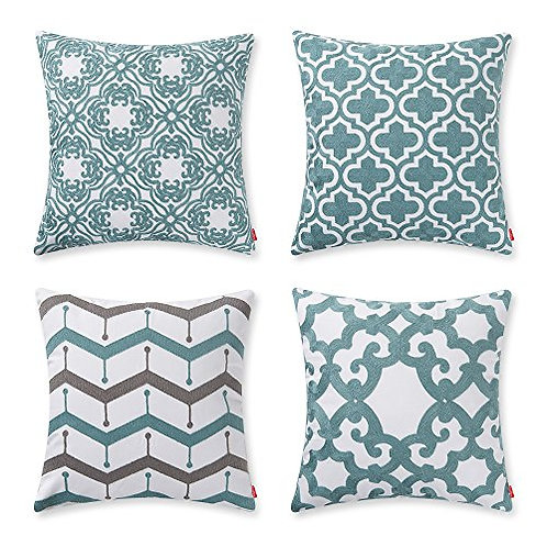 Cotton Teal Embroidery Pattern Decor Throw Pillow Case