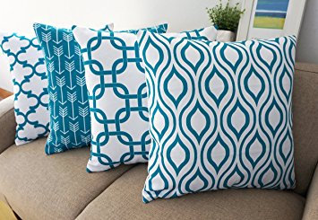 Canvas Cotton Cushion Cover, Geometric Pattern