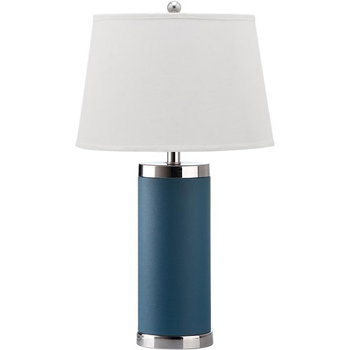 Safavieh Lighting Collection Leather Column Blue 26-inch Table Lamp
