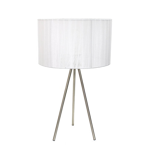 Brushed Nickel Tripod Table Lamp with Pleated Silk Sheer Shade