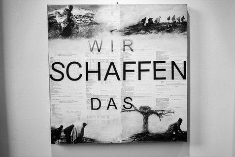 """Bärbel Schmidtmann """"Wir schaffen das"""" (We can do it), 80 x 80, 2015."""