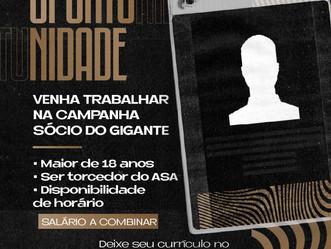 """Oportunidade: ASA recebe currículos de interessados em trabalhar na campanha """"Sócio Gigante"""""""