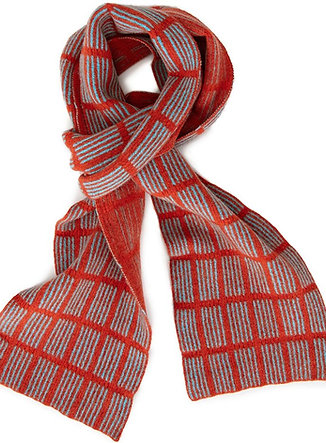 Checked Scarf, Orange and Seagreen