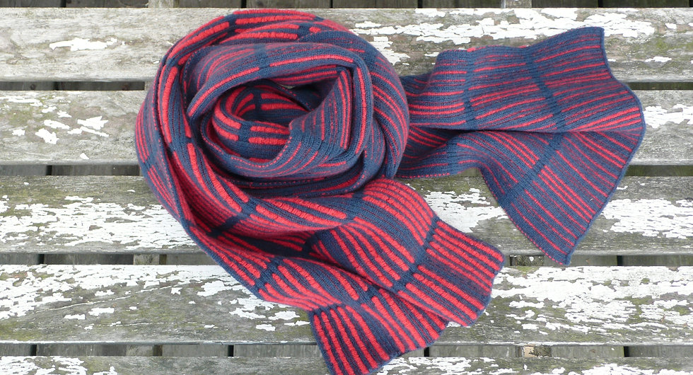 Hand made in Britain, lambswool kniited checked scarf
