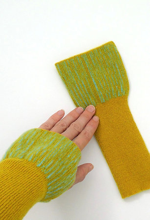 Fingerless Mitts, Mustard and Seagreen