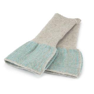 Grey and aqua mitts