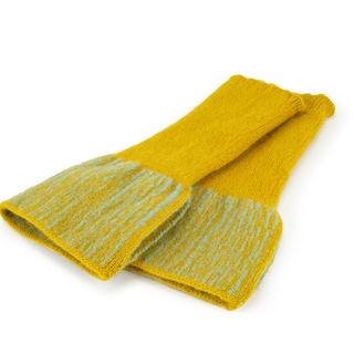 Mustard and aqua mitts