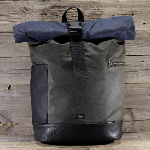 Captn Crop, Backpack , Rolltop, wax cotton