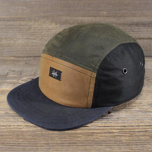 5-Panel Cap - Wax Combi - Black, Sand & Green