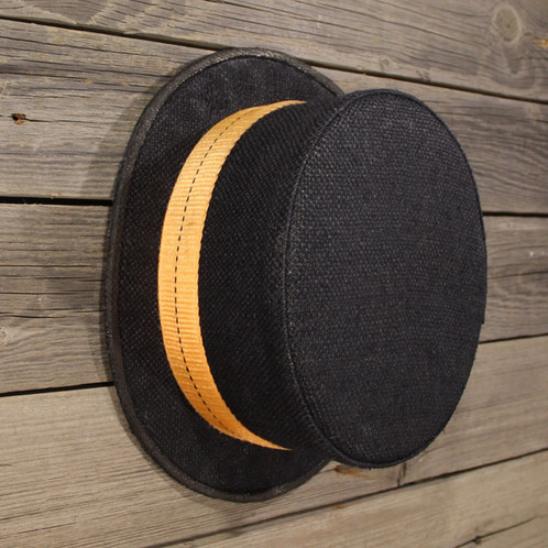 bc218123274629 This Top Hat is made from an old rough grain bag which we dyed black,  combined with a sun-bleached orange lashing. The brim of every Captn-Crop  Top-Hat is ...