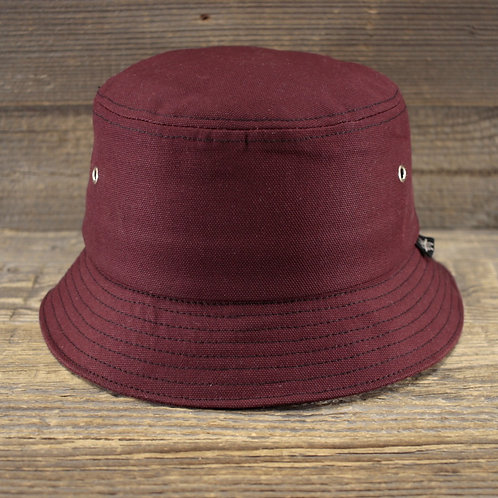 Bucket Hat - RED COATED CANVAS