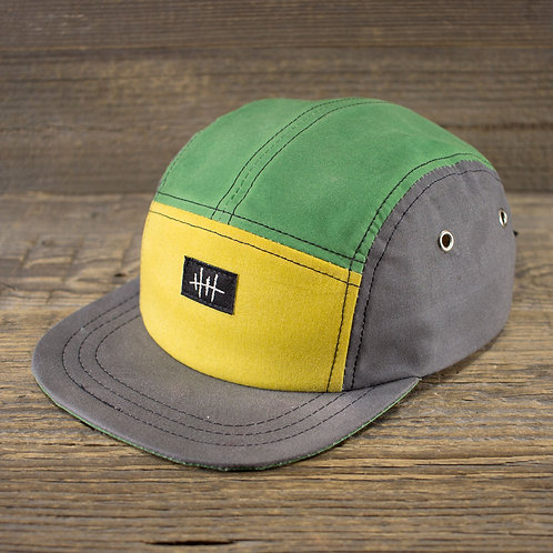 5-Panel Cap - Wax Combi - Grey, Green & Yellow