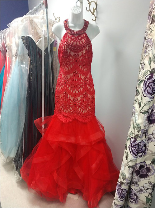 Studio 17 Mermaid Prom Dress in Red