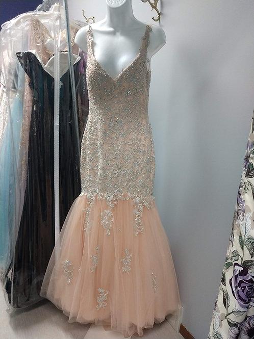 Tiffany Designs Mermaid Prom Dress in Champagne