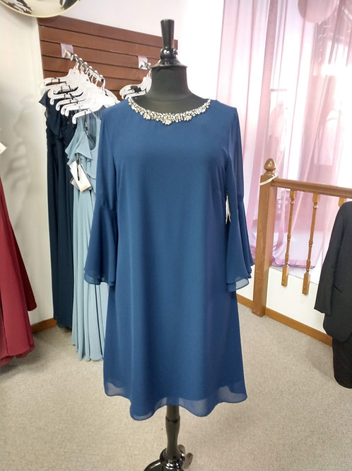 SLNY Dress with Trumpet Sleeves in Eclipse