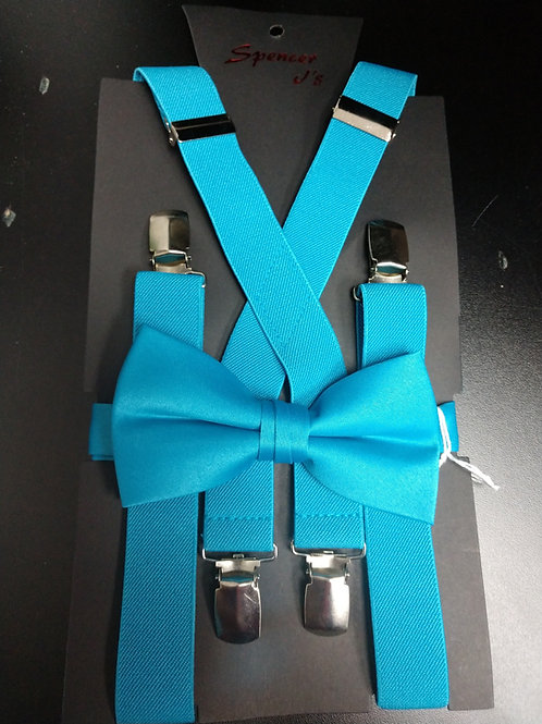 Bow-tie and Suspenders Set in Turquoise