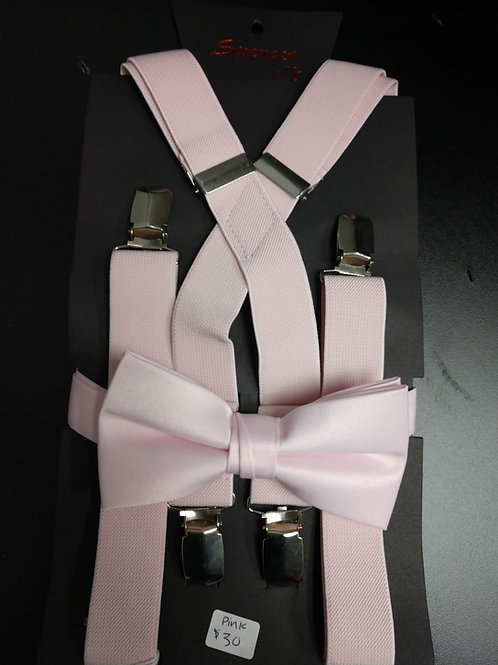 Bow-tie and Suspenders Set in Pink