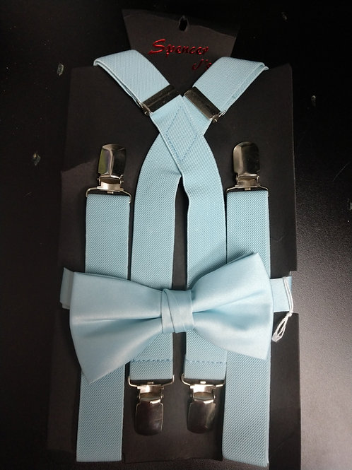 Bow-tie and Suspenders Set in Light Blue