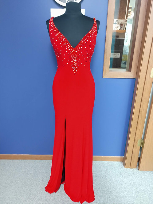 Tiffany Designs Deep V-Neck Prom Dress in Red