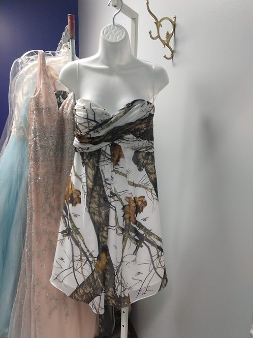 Strapless Party Dress in White Mossy Oak Camo