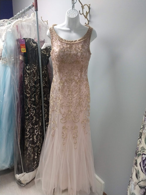 Colette Mon Cheri Bateau Neck Prom Dress in Blush/Champagne