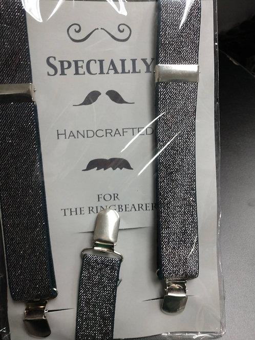 Peanut Butter Silver Metallic Boy's Suspenders Set