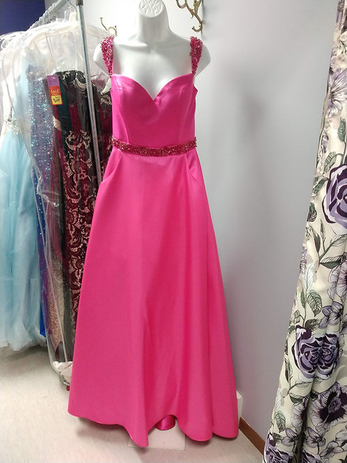 Studio 17 Ballgown with Beaded Straps in Hot Pink